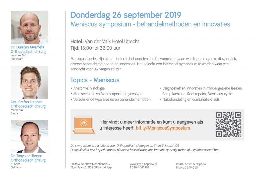 Meniscus symposium - behandelmethoden en innovaties